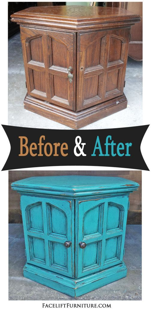 Turquoise Hexagon End Table - Before & After | Hexagons, End Tables ...