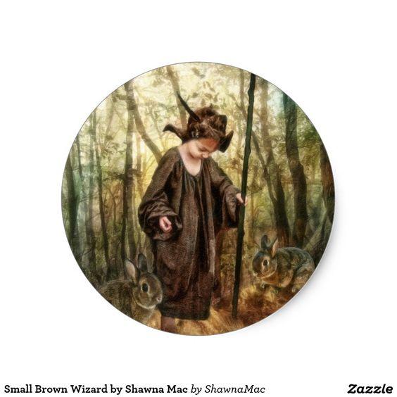 Small Brown Wizard by Shawna Mac Classic Round Sticker