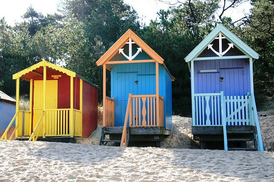 Beach Huts Anchor Twins by snailtrail.co.uk vw camper hire, via Flickr