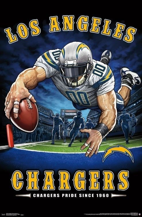 Los Angeles Chargers End Zone Mascot Poster 22x34 Nfl Football 15985 882663059850 Ebay Football Poster Chargers Football Nfl Football Art