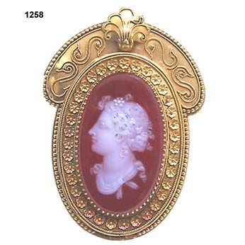 Antique Victorian Hardstone Cameo Brooch Mounted In 15k Gold Frame Wth Etruscan Work On Mounting With Granulation And Applied Shell Motif    c.1870
