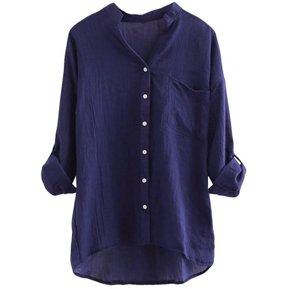 Navy Blue Stand Collar Plain Button Three Quarter Sleeve Ladies ...