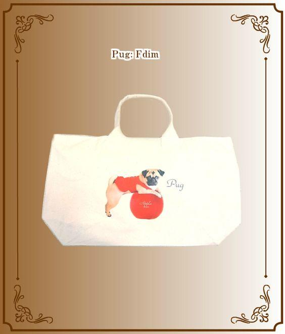 パグBig バッグこんな大きなバッグがほしかった!赤いりんごがアクセントになっていてとっても可愛いです。なかなかないですよぉ~。パグの表情がなんともいえないくらい可愛いです!
