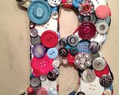 """White, Pink, Blue & Grey 9"""" Button Initial """"B"""""""