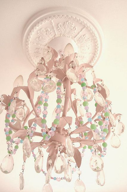 a ceiling medallion such as this one truly makes this delicate pink chandelier look elegant chic pink chandelier pink