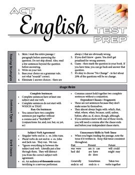 ACT English Test Prep / Grammar, Usage, and Rhetorical--I don't know about the writing...i hope I don't have to do it tho...