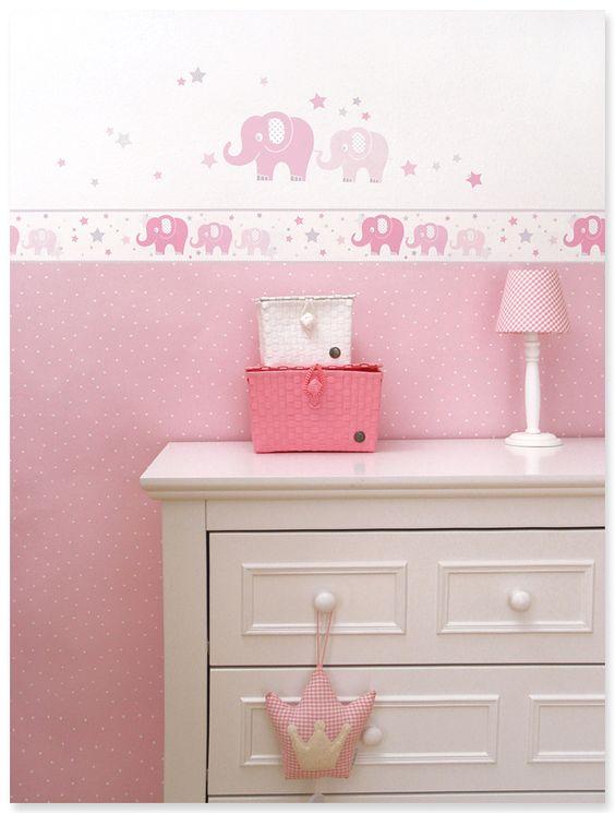 ... Babyzimmer in rosa, weiß und grau mit Elefanten-Wandgestaltung und