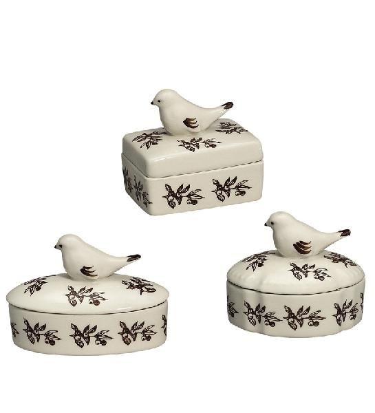 Bird Toile Set of 3 Porcelain Boxes