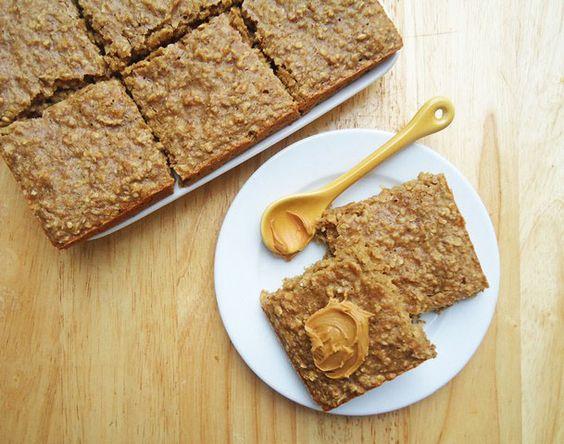 Peanut Butter Banana Oatmeal Squares via Gingerbreadbagels.com