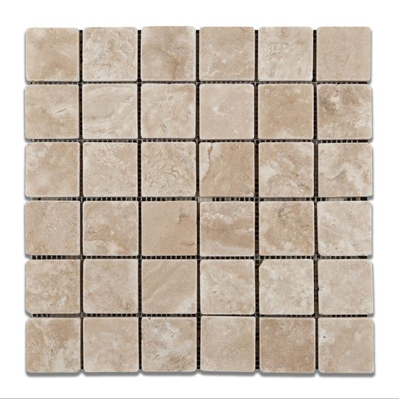 2 X 2 Durango Cream Travertine Tumbled Mosaic Tile