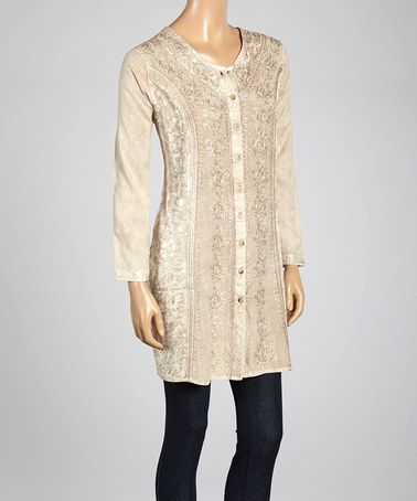 Another great find on #zulily! Beige Embroidered Long-Sleeve Tunic #zulilyfinds