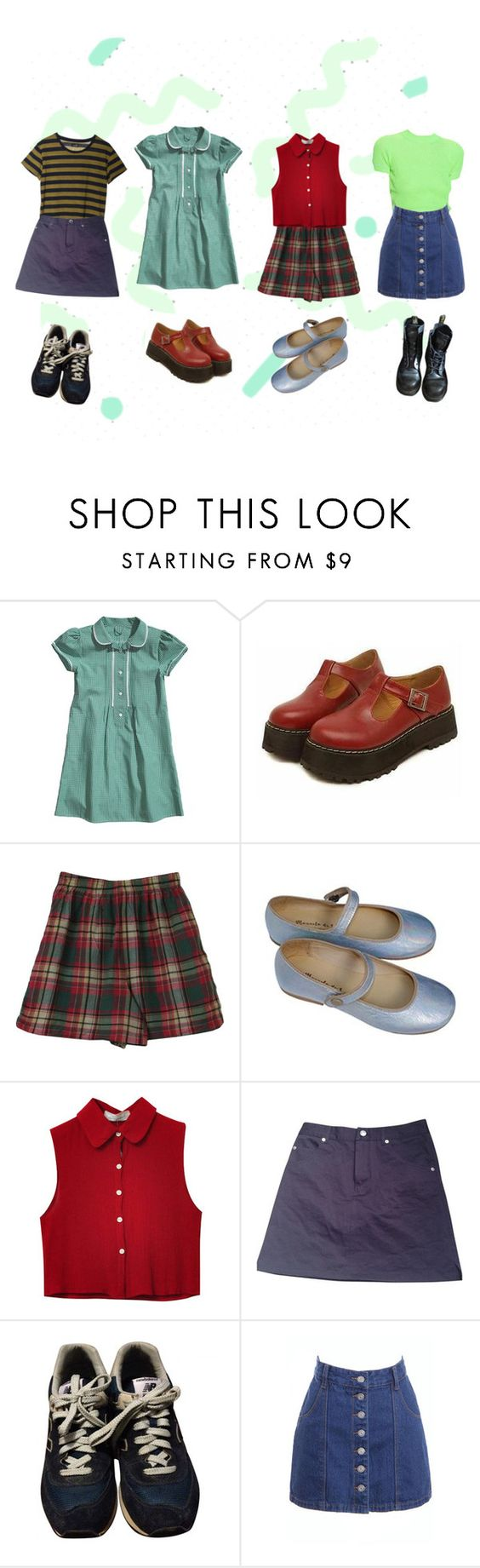 """Untitled #241"" by paraparappa ❤ liked on Polyvore featuring Mancienne, Manuela de Juan, Cheap Monday, Chicnova Fashion, A.P.C., New Balance and Dr. Martens"