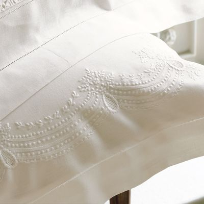 """These are """"Francesca"""" pillowcases by Cotton & Cologne.  They tick two of my favourite boxes (1. Lace and 2. Bed Linen) and even though they're £45 each (in the *sale*), I LOVE them."""