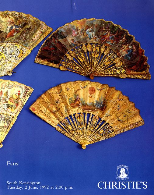 Title: Christie's: Fans   Author: N/A  Publication: Christie's, London  Publication Date: 1992     Book Description: Blue paperback detailing 243 fans with some black and white photographic plate images.      Call Number: NK 4870 .C57