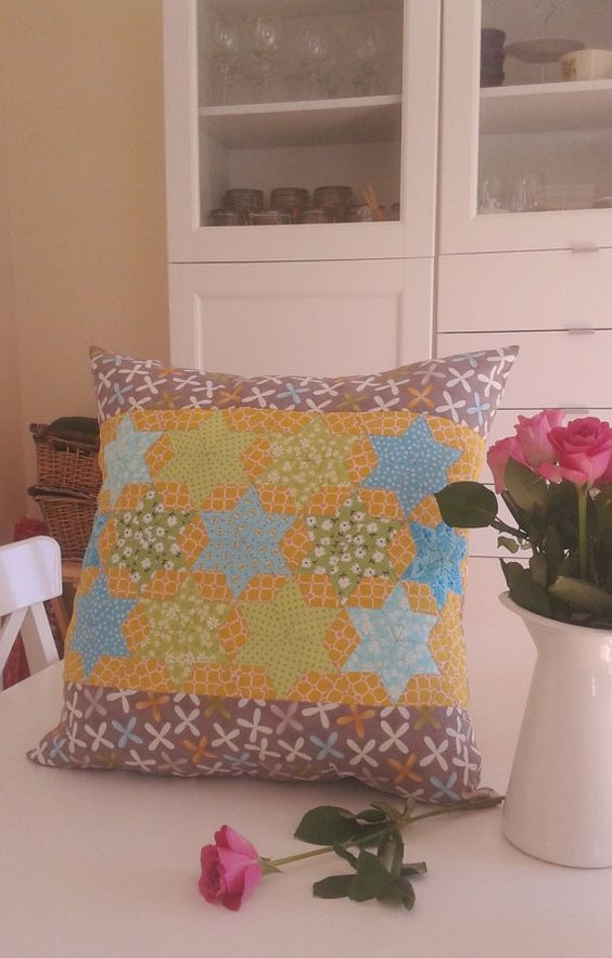 "Quilted mustard cushion, 20.5"" x 20.5"", mustard aqua green cushion cover,  starts cushion cover"