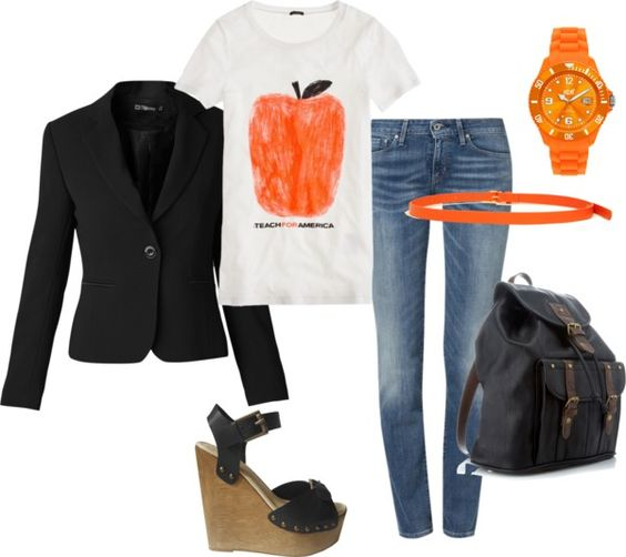 """Negro y naranja"" by romina-gelabert on Polyvore"