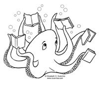 Library/Reading related coloring pages   library   Pinterest   Kniha ...