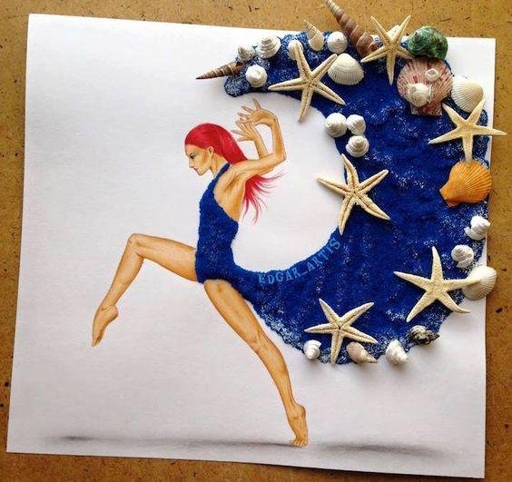 Ilustrações são misturadas com elementos do cotidiano para criar movimentos graciosos