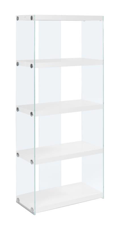 Monarch Specialties I 3289 Glass Shelving Unit Glass Bookcase Bookcase