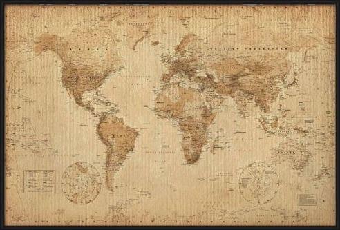Cartina Geografica Mondo Quadro.Poster Quadro Mappa Del Mondo Stile Antico Su Europosters It Mappa Antica Mappe D Epoca Mappa Del Mondo