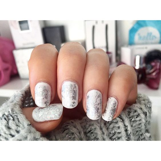 New nails ☺️ white and iridescent silver foil thanks @dollhousenailsnz #shaaanxo: