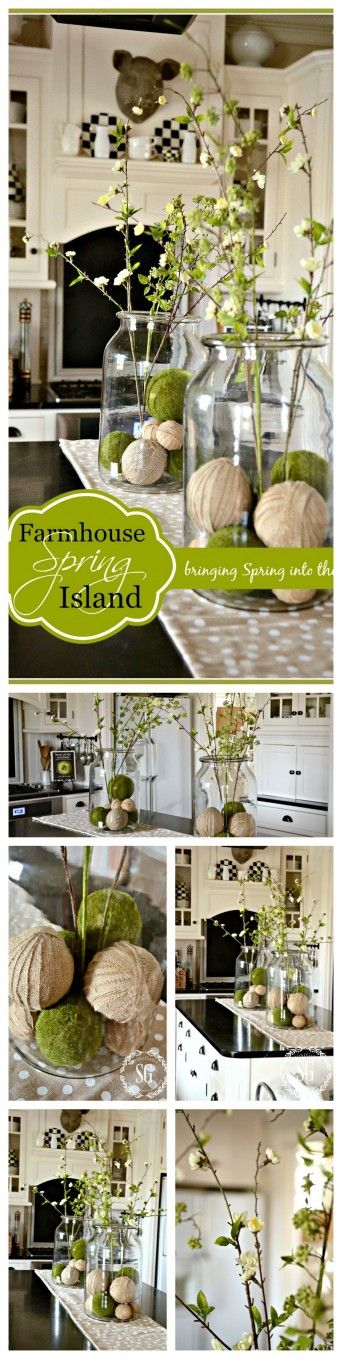FARMHOUSE SPRING KITCHEN VIGNETTE ON THE ISLAND- Here 's an easy way to decorate for spring-stonegableblog.com: