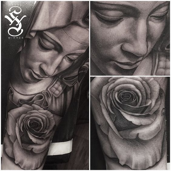 virgin mary rose tattoo black and gray portrait tattoo by steve wimmer at guru tattoo in san. Black Bedroom Furniture Sets. Home Design Ideas