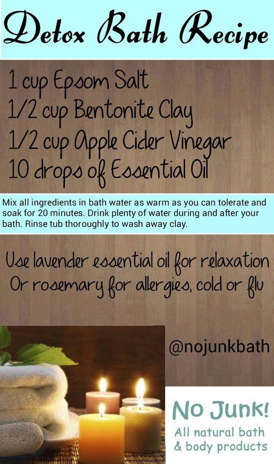 Detox bath recipe. Epsom salt, bentonite clay, apple cider vinegar and essential oils.