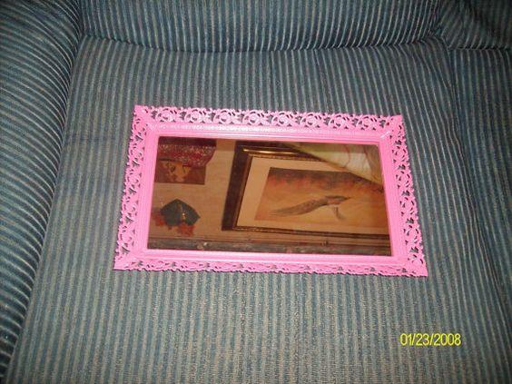 Free Shipping--Pink Painted Metal Filigree Ornate Mirror Vanity Tray