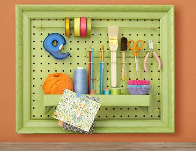 Peg board in picture frames