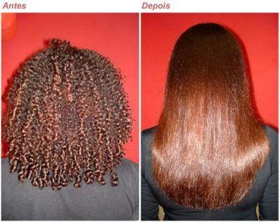 antes e depois da escova progressiva de chocolate