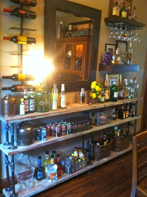 Large rustic industrial bar or book case by remickandrogan for Bar showcase for home