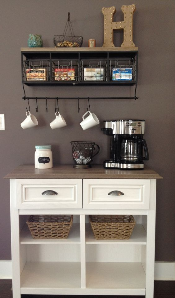 20 Handy Coffee Bar Ideas For Your Home Coffee Bar Home Coffee Bars In Kitchen Home Coffee Stations
