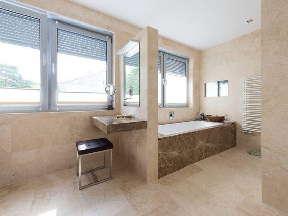 Travertinfliesen Classic Light Fein Geschliffen Badewanne Umbauen Badezimmerboden Selbstgebaute Badewanne