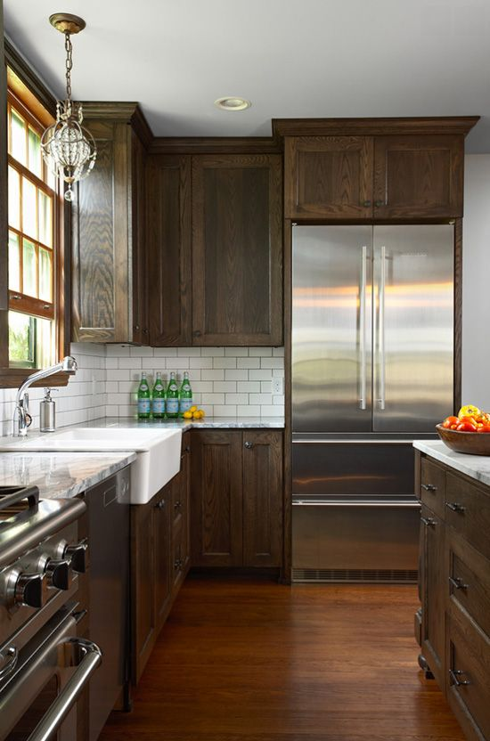 Dark cabinets and white subway tile: