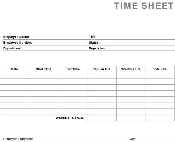 Printable PDF Timesheets For Employees | Printable Weekly Employee ...