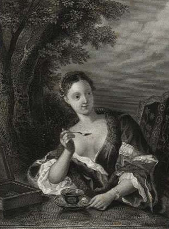 etching lady with cup of chocolate