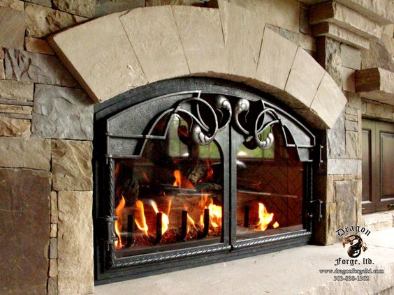 Forged Iron Fireplace Screen : Forged iron fireplace doors hand blacksmithing
