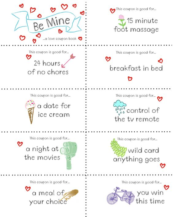 Last minute valentine free coupon book printable for Coupons for my boyfriend