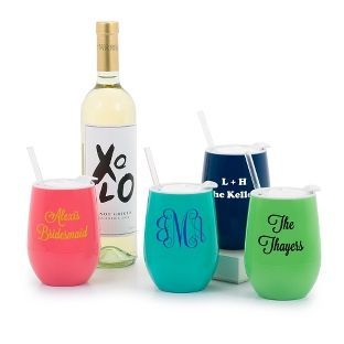 Personalized Stemless Travel Wine Tumbler With Lid And