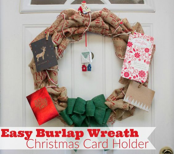 Make your own easy burlap wreath Christmas card holder So easy to