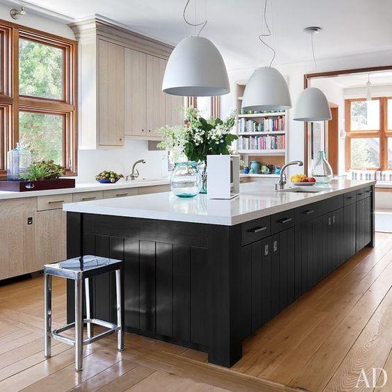 Natural base cabinets, blk kitchen island