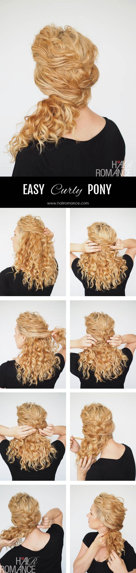 Curly hair tutorial – easy ponytail with a twist (Hair Romance)