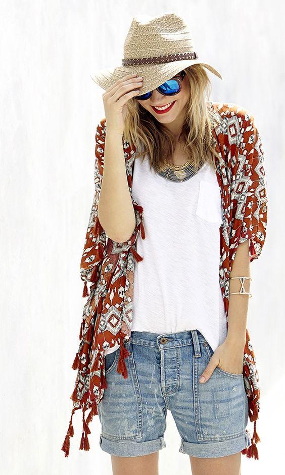 Boho style: Tribal print tassel kimono + panama hat + reflective sunglasses + tribal cuff: