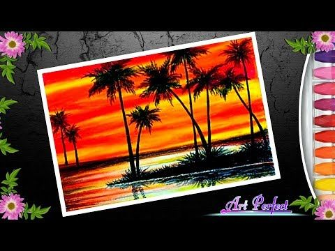 Landscape Drawing For Beginner Sunset Drawing With Oil Pastel Youtube Oil Pastel Landscape Drawings Oil Pastel Drawings
