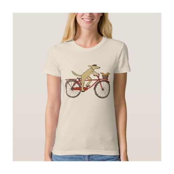 Cycling Dog and Squirrel - Fun Animal Art T Shirts ($27) ❤ liked on Polyvore featuring tops, t-shirts, pink top, pink t shirt, pink tee, animal tops and dog top