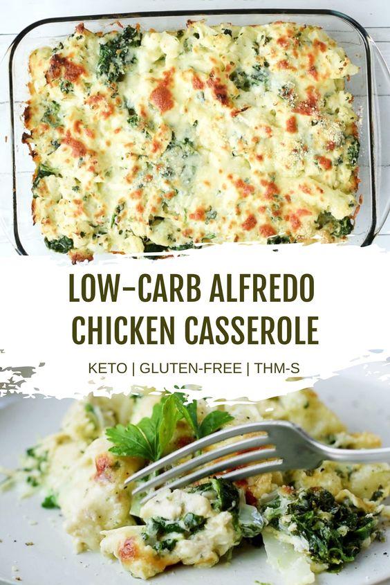 Low Carb Alfredo Chicken Casserole