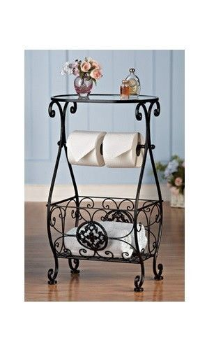 Bathroom Toilet Tissue Paper Roll TP Holder Stand Table Towel Rack ...
