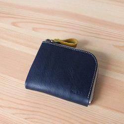 ちいさなお財布 ネイビーブルー イタリアレザー 財布 ネイビー レザー 財布 小銭入れ