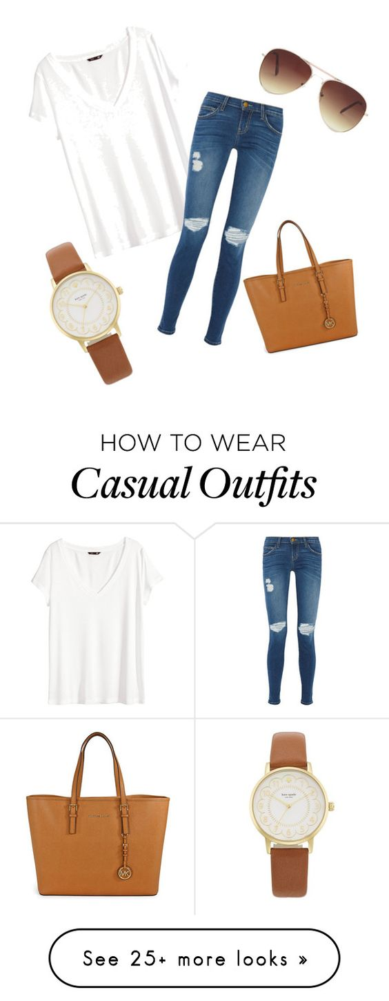 """Casual"" by jacqueline-mccloskey on Polyvore featuring H&M, Current/Elliott, Michael Kors, Forever 21 and Kate Spade"